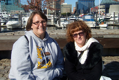 Laurie and Kathy enjoying Baltimore's Inner Harbor (19 Oct 2008) (Image taken with FinePix F10 at ISO 80, f5.0, 1/600 sec and 8mm)