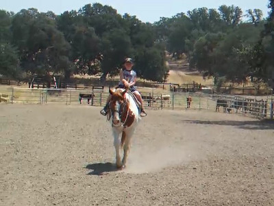 Christopher riding a horse in the arena at the Martinez family ranch.  We visited the Roth family our first weekend in California. The kids had a great time, especially on Sunday when Aunt Betsy and Uncle Frank took them for rides on the horses and four wheeler.