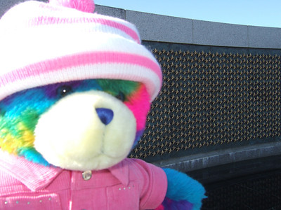 Rainbow Bear at the National World War II Memorial. The bear belongs to Kathy's pre-school class and gets to go home with the students and teacher over the weekends. (Image taken with FinePix F10 at ISO 200, f5.0, 1/480 sec and 8mm)
