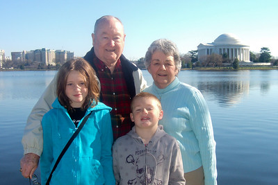 Grady and Mary Clare in front of the Thomas Jefferson Memorial with their grandchildren, Sydney and Christopher. (Image taken with FinePix F10 at ISO 200, f5.6, 1/480 sec and 10.4mm)