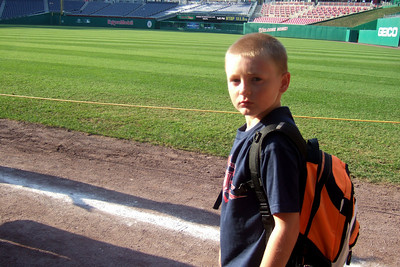 """Christopher heading onto the field for """"Kids Run the Bases"""" at Nationals Park. (Image taken with FinePix F10 at ISO 80, f2.8, 1/350 sec and 8mm)"""