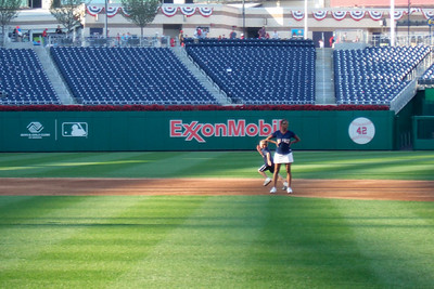 """Christopher on his way to 3rd base during """"Kids Run the Bases"""" at Nationals Park. (Image taken with FinePix F10 at ISO 200, f5.0, 1/150 sec and 24mm)"""