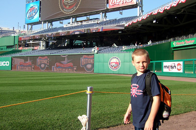 """Christopher heading onto the field for """"Kids Run the Bases"""" at Nationals Park. (Image taken with FinePix F10 at ISO 80, f4.0, 1/340 sec and 8mm)"""
