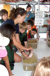 Claire explaining how to handle each of the fish. Sydney's 5th grade class from Taylor Elementary had a great field trip on the Potomac River guided by the Chesapeake Bay Foundation. (Image taken with FinePix F10 at ISO 200, f2.8, 1/220 sec and 8mm)