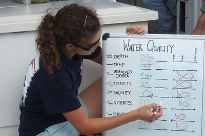 Claire, the guide, explaining to the class what the test results mean. Sydney's 5th grade class from Taylor Elementary had a great field trip on the Potomac River guided by the Chesapeake Bay Foundation. (Image taken with FinePix F10 at ISO 100, f5.0, 1/400 sec and 24mm)