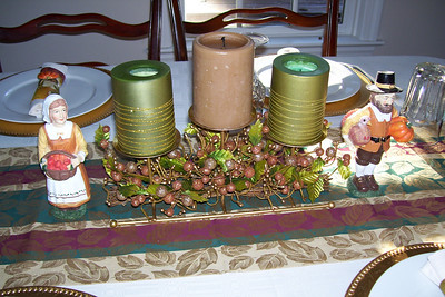 Thanksgiving table decorations in Pat and Kathy's dining room. (Image taken with KODAK EASYSHARE C653 ZOOM DIGITAL CAMERA at ISO 80, f2.7, 1/60 sec and 6mm)