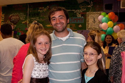 Sydney and Meredith with Mr. Ferrara. Taylor Elementary 5th Grade Graduation (15 Jun 2009) (Image taken with Canon EOS 20D at ISO 400, f4.0, 1/60 sec and 21mm)