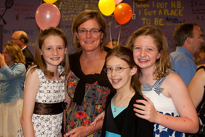 Sydney, Meredith and Claire with Mrs. Rowland, their science teacher. Taylor Elementary 5th Grade Graduation (15 Jun 2009) (Image taken with Canon EOS 20D at ISO 400, f4.0, 1/60 sec and 28mm)