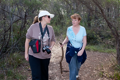 Kathy wasn't let me shoot any pictures of her while hiking, so I had to shoot this one under my arm and backwards to catch her and Josine on the hike in the hills above John and Sue's. Australia (01 Jul 2009) (Image taken with Canon EOS 20D at ISO 200, f4.5, 1/60 sec and 17mm)