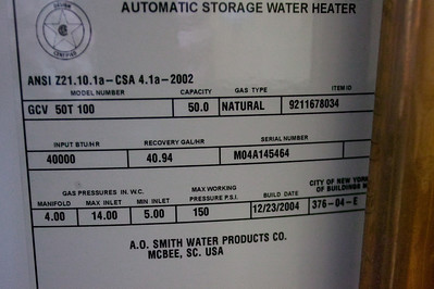 Since we were going to install a new, high efficiency boiler, we also decided to replace this 50-gallon gas-fired water heater with an indirect fired water heater. (23 Jul 2009) (Image taken by Patrick R. Kane with Canon EOS-1DS at ISO 400, f4.0, 1/60 sec and 36mm)