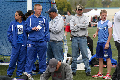 Brooke and Nathan killing time with King City High School team mates at the Gilroy track meet. (Photo by Betsy Roth)