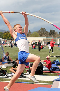 Nathan pole vaulting. Even though he wasn't feeling well, he placed 5th in pole vault for King City High School at the Gilroy track meet. (Photo by Betsy Roth)