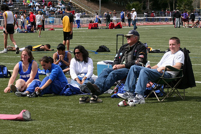Frank and Pat watching King City High School at the Gilroy track meet. (Photo by Betsy Roth)