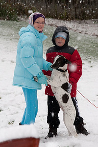 Sydney, Christopher and Dolly enjoying the first snow of the year. (Image taken by Kathy T. Kane on 05 Dec 2009 with Canon EOS 20D at ISO 400, f5.0, 1/250 sec and 70mm)