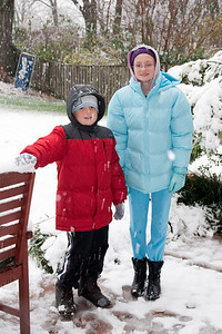 Christopher and Sydney enjoying the first snow of the year. (Image taken by Kathy T. Kane on 05 Dec 2009 with Canon EOS 20D at ISO 400, f5.6, 1/60 sec and 30mm)