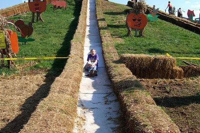 Claire on the slide at the Cox Farms Pumpkin Patch (Image taken by Sydney J. Kane on 03 Nov 2009 with FinePix F10 at ISO 80, f4.5, 1/350 sec and 8mm)