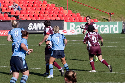 Kathy's neice, Natalie #9, playing in the Australian Women's Rugby League (AWRL) State of Origin game. Her team, Queensland, defeated New South Wales 20 to 14 (18 Jul 2009) (Image taken with Canon EOS 20D at ISO 400, f10.0, 1/1000 sec and 200mm)