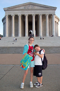 Sydney and Christopher in front of the Thomas Jefferson Memorial. (Image taken by Sydney J. Kane on 19 Sep 2009 with FinePix F10 at ISO 400, f2.8, 1/150 sec and 8mm)