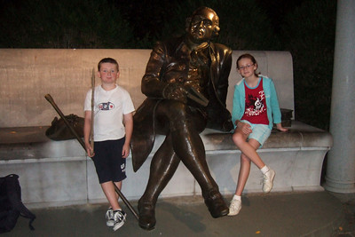 Christopher and Sydney taking a break at the George Mason Memorial. (Image taken by Sydney J. Kane on 19 Sep 2009 with FinePix F10 at ISO 800, f2.8, 1/100 sec and 8mm)