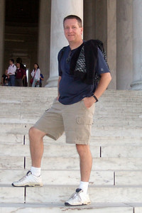 Pat in front of the Thomas Jefferson Memorial. (Image taken by Sydney J. Kane on 19 Sep 2009 with FinePix F10 at ISO 800, f3.7, 1/120 sec and 14.1mm)