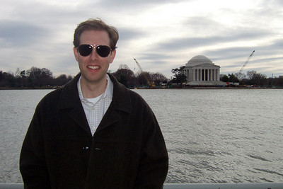 Chris Giacomazzi at the Tidal Basin in front of the Thomas Jefferson Memorial (05 Mar 2010) (Image taken by Patrick R. Kane on 05 Mar 2010 with FinePix F10 at ISO 200, f8.0, 1/800 sec and 8mm)
