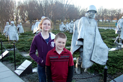 Sydney and Christopher at the Korean War Veterans Memorial (06 Mar 2010) (Image taken by Patrick R. Kane on 06 Mar 2010 with FinePix F10 at ISO 400, f2.8, 1/170 sec and 8mm)
