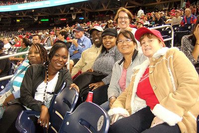 Tracie, Shade, Ron, Stephanie, Traci, Kathy and Amy. The Kinhaven School teachers and staff enjoyed a trip to the ball park to watch the Washington Nationals play the Florida Marlins. Unfortunately, the Nats lost 1 to 3; however, that didn't stop everyone from having a great time. (Image taken by Kathy T. Kane on 10 Sep 2010 with FinePix F10 at ISO 800, f2.8, 1/170 sec and 8mm)