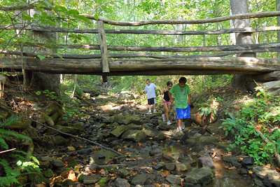 Braden, Sylvia and Matt exploring a stream during Taylor Elementary School 5th Grade's overnight field trip to the Arlington Outdoor Lab (Image taken by Christopher R. Kane on 24 Sep 2010 with COOLPIX S570 at ISO 400, f2.7, 1/125 sec and 5mm)