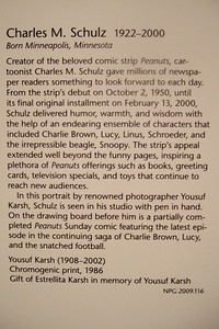 A label for a photo taken of Charles Schulz in his studio. Smithsonian American Art Museum (Image taken by Sydney J. Kane on 28 Nov 2010 with FinePix F10 at ISO 800, f2.8, 1/40 sec and 8mm)