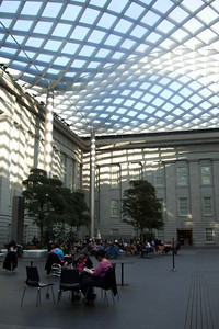Interior courtyard of the Smithsonian American Art Museum. We came to the museum to see the Norman Rockwell exhibition, where no photos were allowed. (Image taken by Sydney J. Kane on 28 Nov 2010 with FinePix F10 at ISO 200, f2.8, 1/140 sec and 8mm)