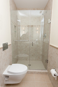 Our new 1st floor shower with frameless glass enclosure. (Image taken by Patrick R. Kane on 02 Oct 2011 with Canon EOS-1D Mark III at ISO 200, f8.0, 1/60 sec and 16mm)