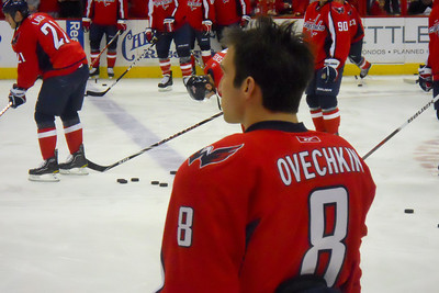 #8 Alex Ovechkin during the pre-game warm up. As a Christmas gift, Kathy gave Patrick and Christopher a couple of great tickets (Sec 103, Row J, Seats 9 & 10) to the Washington Capitals vs. Vancouver Canucks game. The boys had a great time even though the Caps didn't win. (Image taken by Patrick R. Kane on 14 Jan 2011 with COOLPIX S570 at ISO 800, f6.2, 1/125 sec and 22.6mm)