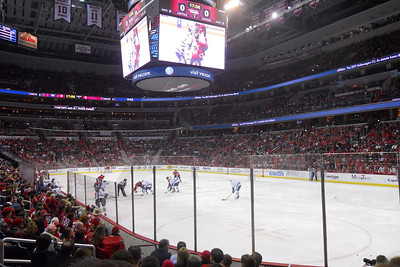 1st period action in the Verizon Center. As a Christmas gift, Kathy gave Patrick and Christopher a couple of great tickets (Sec 103, Row J, Seats 9 & 10) to the Washington Capitals vs. Vancouver Canucks game. The boys had a great time even though the Caps didn't win. (Image taken by Patrick R. Kane on 14 Jan 2011 with COOLPIX S570 at ISO 400, f2.7, 1/160 sec and 5mm)