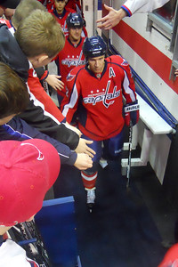 #22 Mike Knuble coming out of the locker room for the pre-game warm up. As a Christmas gift, Kathy gave Patrick and Christopher a couple of great tickets (Sec 103, Row J, Seats 9 & 10) to the Washington Capitals vs. Vancouver Canucks game. The boys had a great time even though the Caps didn't win. (Image taken by Patrick R. Kane on 14 Jan 2011 with COOLPIX S570 at ISO 800, f2.7, 1/60 sec and 5mm)