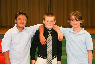 Braden, Christopher and Woody at the Taylor 5th Grade Graduation Ceremony (Image taken by Kathy T. Kane on 22 Jun 2011 with Canon EOS 20D at ISO 400, f4.0, 1/60 sec and 33mm)