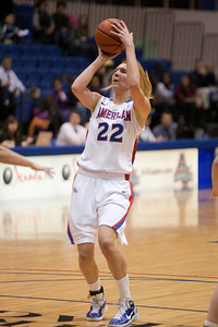 #22 Liz Leer of the American University women's basketball team playing against the Holy Cross Crusaders. The Eagles beat the Crusaders 84 to 53. (Image taken by Patrick R. Kane on 22 Jan 2011 with Canon EOS-1D Mark III at ISO 1600, f2.8, 1/320 sec and 155mm)