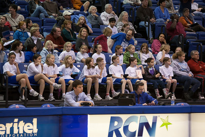 The Taylor Elementary School's 5th Grade Dance Team enjoying the American University and Holy Cross women's basketball game, where they'll perform at half-time. The dancers did a great job, as did the Eagles, who beat the Crusaders 84 to 53. (Image taken by Patrick R. Kane on 22 Jan 2011 with Canon EOS-1D Mark III at ISO 1600, f2.8, 1/320 sec and 150mm)