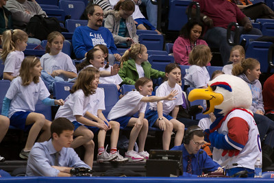 Clawed the Eagle and the Taylor Elementary School's 5th Grade Dance Team enjoying the American University and Holy Cross women's basketball game, where they'll perform at half-time. The dancers did a great job, as did the Eagles, who beat the Crusaders 84 to 53. (Image taken by Patrick R. Kane on 22 Jan 2011 with Canon EOS-1D Mark III at ISO 1600, f2.8, 1/320 sec and 200mm)