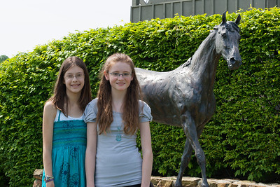 Meredith and Sydney in front of a statue of Saluter, winner of Virginia Gold Cup 6 straight years, 1994-1999. The 86th running of the Virginia Gold Cup steeplechase race at Great Meadow in The Plains, Virginia (Image taken by Patrick R. Kane on 07 May 2011 with Canon EOS-1D Mark II at ISO 100, f11.0, 1/160 sec and 70mm)