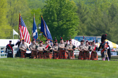 The Color Guard was presented by St. Andrew's Society Pipes and Drums Band. The 86th running of the Virginia Gold Cup steeplechase race at Great Meadow in The Plains, Virginia (Image taken by Patrick R. Kane on 07 May 2011 with Canon EOS-1D Mark III at ISO 100, f2.8, 1/1600 sec and 400mm)