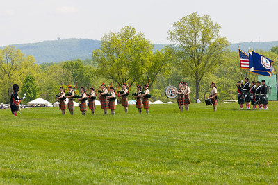 The Color Guard was presented by St. Andrew's Society Pipes and Drums Band. The 86th running of the Virginia Gold Cup steeplechase race at Great Meadow in The Plains, Virginia (Image taken by Patrick R. Kane on 07 May 2011 with Canon EOS-1D Mark II at ISO 100, f11.0, 1/100 sec and 190mm)