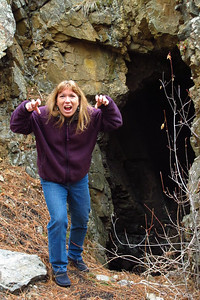 Tracy joking outside the bear cave. Little did she realize Lee wasn't joking about bears taking up residence here. Fortunately for her, the bears left during the recent forest fire. (Image taken by Patrick R. Kane on 04 Nov 2012 with Canon PowerShot G12 at ISO 0, f3.5, 1/40 sec and 12.1mm)