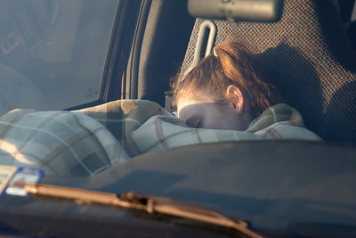 Sydney is trying to catch a few extra minutes of sleep as we were on the road at 4:30 a.m. to make the 90-mile drive to Conowingo Dam to take pictures of the eagles (Image taken by Patrick R. Kane on 03 Apr 2012 with Canon EOS-1D Mark III at ISO 200, f4.0, 1/100 sec and 400mm)