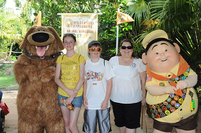 Dug, Sydney, Christopher, Aunt KK and Russell at Disney's Animal Kingdom on 28 May 2012