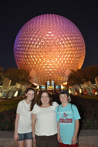 Sydney and Christopher with Aunt KK at Epcot, Walt Disney World