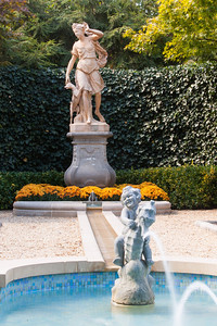 The French Parterre was beautiful and included several sculptures, including a cherub riding a sea animal in the central pool in front of Diana, the Roman goddess of the hunt. Hillwood Estate, Museum & Gardens (Image taken by Patrick R. Kane on 29 Sep 2012 with Canon EOS-1D Mark III at ISO 100, f22.0, 1/0.5 sec and 70mm)