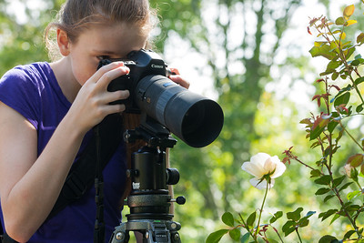 Sydney taking a close-up picture of a rose in the rose garden of Hillwood Estate, Museum & Gardens (Image taken by Patrick R. Kane on 29 Sep 2012 with Canon EOS-1D Mark III at ISO 100, f8.0, 1/30 sec and 123mm)