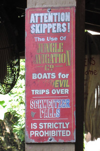 A sign in the Jungle Cruise at Disney's Magic Kingdom (Image taken by Kathy L. Kane on 27 May 2012 with Canon PowerShot ELPH 100 HS at ISO 0, f5.9, 1/80 sec and 20mm)