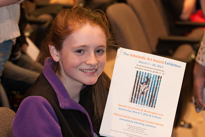 Each winter, the Arlington Central Library hosts the Regional Scholastic Art Award, a competition which encompasses all Middle School and High School students in Arlington County. Almost 2,000 works of art were submitted and judged by three jurors. Out of these, the judges chose 376 to be awarded either a Gold or a Silver Certificate. The awards ceremony was held at Washington-Lee High School. (Image taken by Kathy T. Kane on 07 Mar 2012 with Canon EOS 20D at ISO 800, f4.0, 1/50 sec and 70mm)