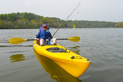 Christopher kayaking on the Potomac River. We put in at Theodore Roosevelt Island and kayaked up river to Fletcher's Boat House, then floated back down the river to complete the 6-mile trip. (Image taken by Patrick R. Kane on 04 Apr 2012 with COOLPIX S570 at ISO 80, f5.4, 1/400 sec and 5mm)